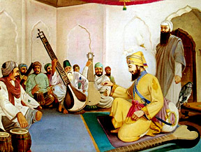 Guru Gobind Singh Sahib in his Darbar